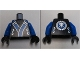 Part No: 973pb1385c01  Name: Torso Ninjago Robe with Blue and Silver Sash Pattern / Blue Arms / Black Hands