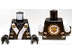 Part No: 973pb1387c01  Name: Torso Ninjago Robe with White and Gold Sash Pattern / White Arms / Black Hands