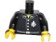 Part No: 973pb1511c01  Name: Torso Police Jacket with '1337' on Collar, Silver 'JCF' Badge, 4 Buttons and Belt Pattern / Black Arms / Yellow Hands