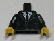 Part No: 973pb1519c01  Name: Torso Suit with White Shirt and Black Tie Pattern / Black Arms / Yellow Hands
