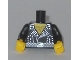 Part No: 973pb1769c01  Name: Torso Leather Jacket with Silver Studs and Buckle, Hairy Chest Pattern / Black Arms with Silver Studs Pattern / Yellow Hands