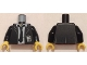 Part No: 973pb2012c01  Name: Torso Suit Jacket with White Shirt and Tie Rumpled, Ultra Agents ID Badge Pattern / Black Arms / Yellow Hands