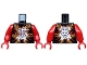 Part No: 973pb2160c01  Name: Torso Ninjago Dark Red and Gold Flames and White Asian Character Pattern / Red Arms / Red Hands