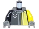 Part No: 973pb2632c01  Name: Torso Race Suit with Mercedes Logo on Front and 'AMG' on Back Pattern / Black Right Arm / Yellow Left Arm / DBG Hands
