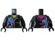 Part No: 973pb3362c01  Name: Torso Female, Zipper, Purple and Blue Markings, Magenta Hood Pattern / Black Arm Left / Black Arm with Purple and Blue Markings Right / Black Hands