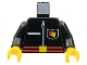 Part No: 973px121c01  Name: Torso Fire Flame Badge, Red Belt, and Zipper Pattern / Black Arms / Yellow Hands