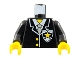 Part No: 973px20c01  Name: Torso Police Suit with Yellow Star Badge Pattern / Black Arms / Yellow Hands