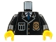 Part No: 973px431c01  Name: Torso Police Jacket with Pocket, Gold Badge and Blue Tie Pattern / Black Arms / Yellow Hands