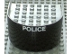 Part No: x147c01pb03  Name: Boat Hull Smooth Stern 6 x 6 x 3 1/3, Deck Color Light Gray with 'POLICE' Pattern (Sticker)