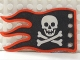 Part No: x376px4  Name: Cloth Flag 8 x 5 Wave with Red Border and Skull and Crossbones Pattern