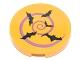 Part No: 14769pb169  Name: Tile, Round 2 x 2 with Bottom Stud Holder with Medium Lavender Spiral and 5 Black Bats Pattern (Sticker) - Set 41230