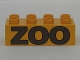 Part No: 3011pb017  Name: Duplo, Brick 2 x 4 with Brown 'ZOO' Pattern