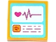 Part No: 3068bpb0913  Name: Tile 2 x 2 with Screens with Heart, Heart Monitor Graph and Animal Paw Pattern (Sticker) - Set 41085