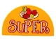 Part No: 31213pb013  Name: Duplo, Brick 2 x 4 x 2 Curved Top with 'SUPER' and Food on Dish Pattern