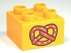 Part No: 3437pb055  Name: Duplo, Brick 2 x 2 with Pretzel Pattern