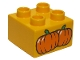 Part No: 3437pb076  Name: Duplo, Brick 2 x 2 with 2 Pumpkins Pattern