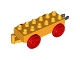 Part No: 4559c01  Name: Duplo, Train Base 2 x 6 with Red Train Wheels and Movable Hook