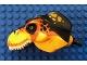 Part No: 98161c05pb01  Name: Dino Head Tyrannosaurus rex with Pin, White Teeth, Black and Dark Orange Top and Black and Bright Light Orange Spots Pattern