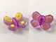 Part No: clikits100pb02  Name: Clikits Icon, Butterfly 2 x 2 with Pin, Purple Body & Yellow Wings Pattern
