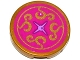 Part No: 14769pb035  Name: Tile, Round 2 x 2 with Bottom Stud Holder with Magenta Cushion with Medium Lavender Button and Gold Swirls Pattern (Sticker) - Set 41061