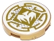 Part No: 14769pb228  Name: Tile, Round 2 x 2 with Bottom Stud Holder with White Dragon and Gold Decorative Lines Pattern