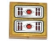 Part No: 3068bpb0790  Name: Tile 2 x 2 with Red Light Bars and Circles Pattern (Sticker) - Set 70505