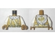 Part No: 973pb3295c01  Name: Torso Ninjago Cape, Suspenders with Dragon Clasps, Dragon Logo on Back Pattern / White Arms / Pearl Gold Hands