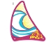 Part No: 32845  Name: Plastic Triangle 23 x 26 Sail with Magenta Border, White and Medium Azure Wavy Stripes and Yellow Flowers and Dots Pattern