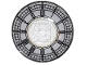 Part No: 44375bpb07  Name: Dish 6 x 6 Inverted (Radar) - Solid Studs with Big Ben Clock Face Pattern