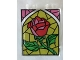 Part No: 4864bpb039  Name: Panel 1 x 2 x 2 - Hollow Studs with Stained Glass Rose Pattern