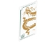 Part No: 57895pb023  Name: Glass for Window 1 x 4 x 6 with Dark Green Lines and Gold Dragon Head and Midsection on White Background Pattern