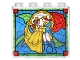 Part No: 60581pb067  Name: Panel 1 x 4 x 3 with Side Supports - Hollow Studs with Beauty and the Beast Stained Glass Window Pattern (Sticker) - Set 41067