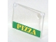 Part No: 60603pb001  Name: Glass for Window 1 x 4 x 3 - Opening with Yellow 'PIZZA' on Green Background Pattern (Sticker) - Set 7641