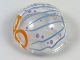 Part No: 61287pb007  Name: Cylinder Hemisphere 2 x 2 with Cutout with Blue Lines and Purple Dots Jelly Mask Pattern