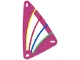 Part No: x772px3  Name: Plastic Triangle 9 x 15 Sail with Dark Pink Border and Green, Blue, Red and Yellow Stripes Pattern