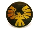 Part No: 75902pb03  Name: Minifigure, Shield Round with Rounded Front with Gold Eagle Pattern
