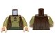 Part No: 973pb1339c01  Name: Torso LotR Vest with Olive Green Shirt and Dark Green Sash Pattern / Olive Green Arms / Light Flesh Hands