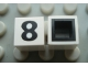 Part No: Mx1011Bpb34  Name: Modulex Tile 1 x 1 with Black '8' Pattern (with black lining on sides only)