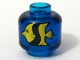 Part No: 3626bpb0004  Name: Minifigure, Head (Without Face) Yellow and Black Fish Pattern - Blocked Open Stud