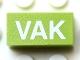 Part No: Mx1021Apb135  Name: Modulex Tile 1 x 2 with White 'VAK' Pattern (horizontal)