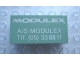 Part No: Mx1042pb38  Name: Modulex Tile 2 x 4 with 'MODULEX A/S MODULEX Tlf. (05) 338811' Pattern
