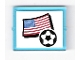 Part No: 3855pb005  Name: Glass for Window 1 x 4 x 3 with Flag of USA and Soccer Ball on White Background Pattern (Sticker) - Set 3411