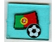 Part No: 3855pb018  Name: Glass for Window 1 x 4 x 3 with Flag of Portugal and Soccer Ball Pattern (Sticker) - Set 3407