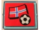 Part No: 3855pb026  Name: Glass for Window 1 x 4 x 3 with Flag of Norway and Soccer Ball on Red Background Pattern (Sticker) - Set 3407
