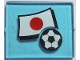 Part No: 3855pb028  Name: Glass for Window 1 x 4 x 3 with Flag of Japan and Soccer Ball Pattern (Sticker) - Set 3406