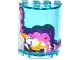 Part No: 6259pb029  Name: Cylinder Half 2 x 4 x 4 with White, Pink and Dark Purple Clouds, Rocket Ship and 6 Stars Pattern (Sticker) - Set 41128