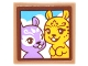 Part No: 3068bpb1065  Name: Tile 2 x 2 with Portrait of Bright Light Yellow and Medium Lavender Squirrels with Sky and Clouds Background Pattern (Sticker) - Set 41182