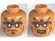 Part No: 3626cpb0560  Name: Minifigure, Head Dual Sided Alien PotC Zombie Silver Eyes and Brown Face Lines Closed Mouth / Bared Teeth Pattern - Hollow Stud