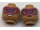 Part No: 3626cpb1718  Name: Minifigure, Head Dual Sided Female Magenta Eye Mask, Dark Red Lips, Grin with Teeth / Neutral Pattern - Hollow Stud