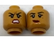 Part No: 3626cpb1784  Name: Minifigure, Head Dual Sided Female Black Eyebrows, Beauty Mark, Red Lips, Lopsided Smile / Fierce Pattern - Hollow Stud